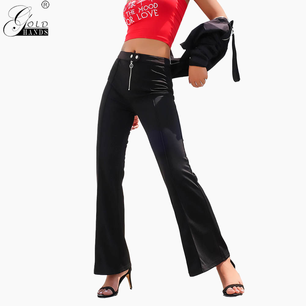 Gold Hands Harajuku Bell Bottom   Pants   Women Streetwear High Waist Flare   Pants     Capris   Elegant Casual Trousers Ladies Korean Black