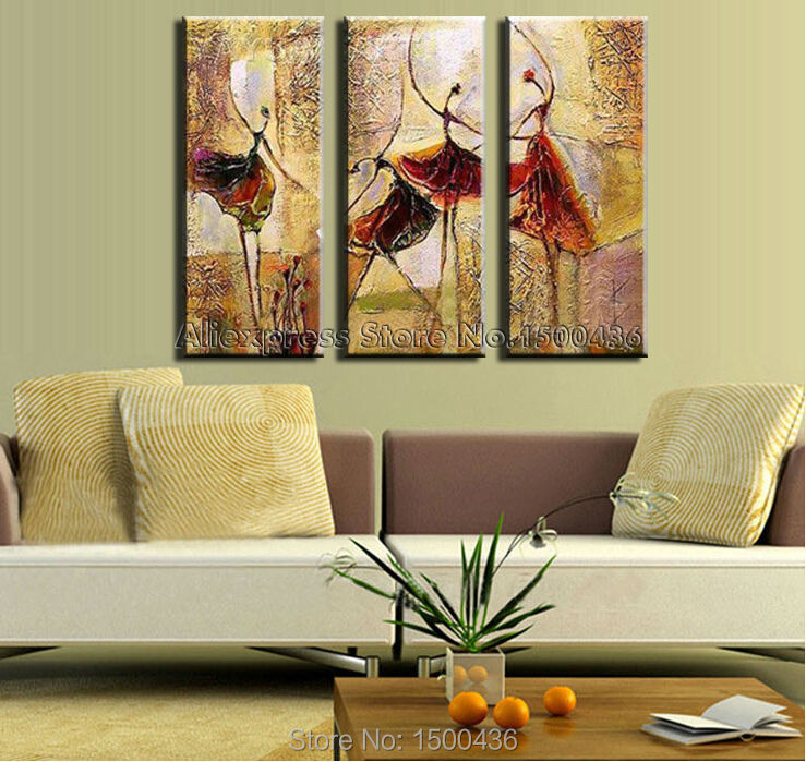 100% Hand Painted Modern Abstract Oil Painting Dancers 3 Piece Wall ...