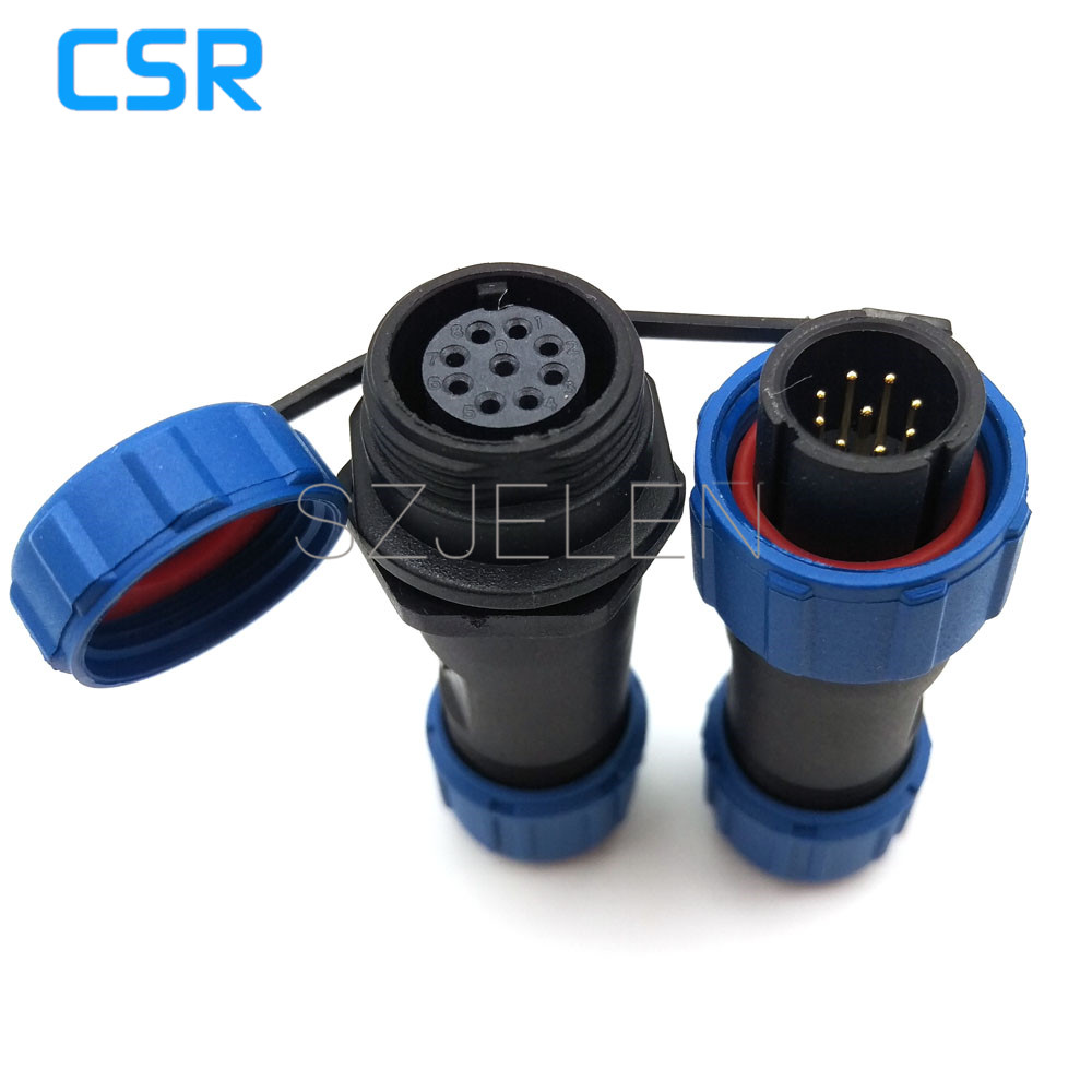 SP13, 9 pin waterproof plug and socket, LED power cable outdoor connectors, 9 pin Air connector hanging cable connector,IP68