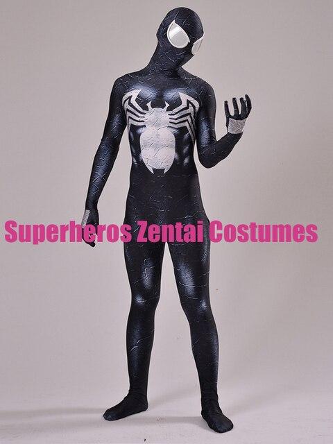 d3032da449b8e Disfraz de Spiderman de Symbiote Venom negro estampado 3D Zentai Spidey  traje de Cosplay de Halloween