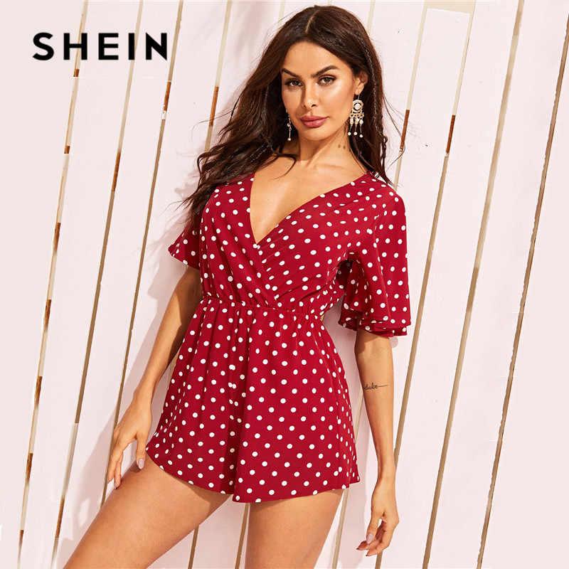SHEIN сексуальный комбинезон в горошек с оборками и открытой спиной, глубокий v-образный вырез, короткий рукав, летний комбинезон с высокой талией и широкими штанинами
