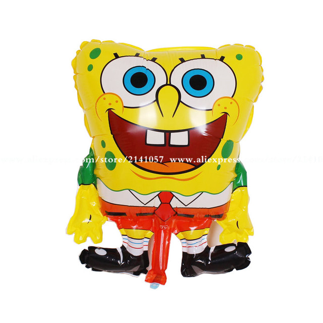 30pcs Lot 5843cm Inflatable Animal Red Feet Sponge Bob Shape Foil Balloons Spongebob