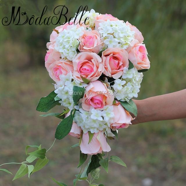 2017 Champagne Rosas Rosadas Flores de Novia Bruidsboeket Elegante Cascada Artificial de La Boda Ramos De Novia Ramo De Mariage