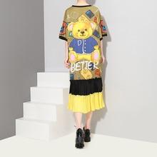 2018 Korean Style Multi Color Women Summer Sun Dress Short Sleeve Cartoon Teddy Bear Printed Girls Cute Midi Pleated Dress 3499