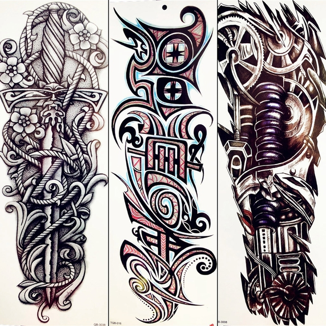 ee90cfdd4 Black Totem Sexy Tattoo Stickers Cool Rope Wheel Adhesive Tattoo Mechanical  Arm Men Boy Full Leg Temporary Tattoo Gear Swords