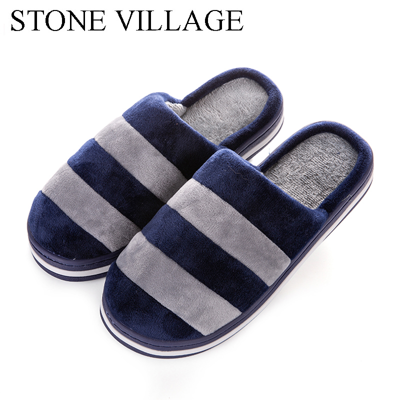 STONE VILLAGE Soft Bottom Flock Home Slippers Couples Warm Cotton Indoor Shoes Men Slipper Comfortable Striped Women Slippers