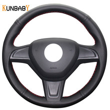 KUNBABY Black Red Genuine leather Car Steering Wheel Cover for Skoda Yeti 2014 2015 2016 Rapid 2015