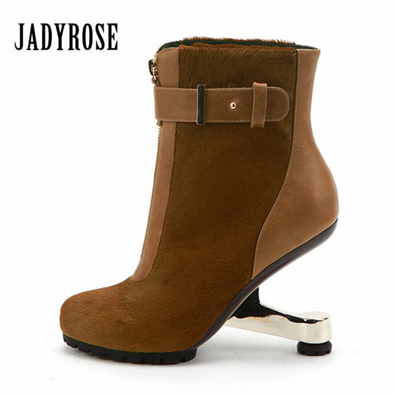 Jady Rose Horsehair Women Ankle Boots Strange Heel Front Zipper Wedge Shoes Woman High Heel Winter Boot Women Pumps Wedges woman wedge heel ankle boots 2015 the latest autumn winter fashion zipper pumps boots cross straps woman wedge heel ankle boots
