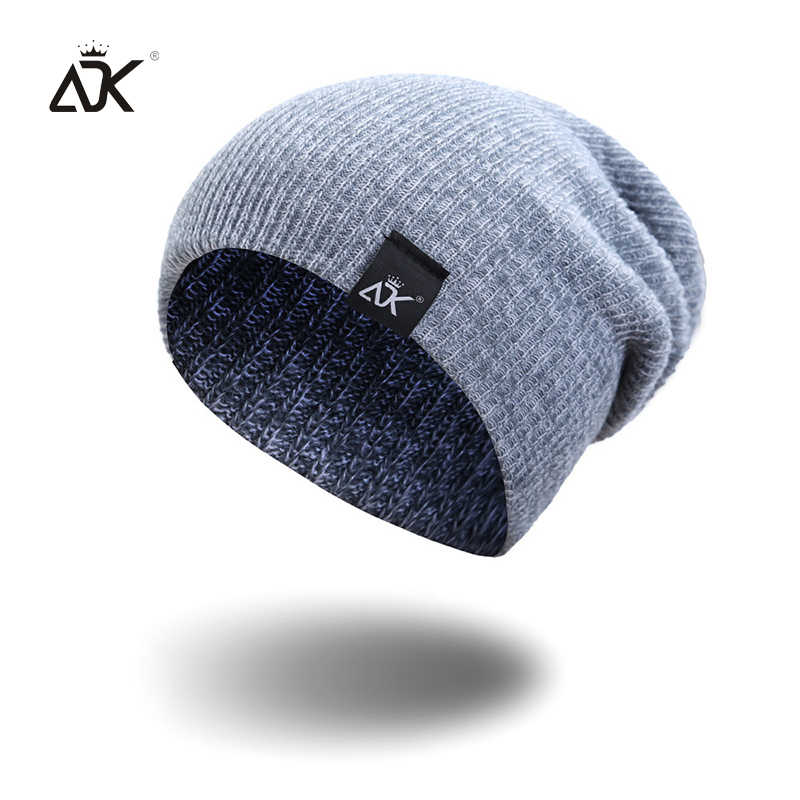 1e993755341 Mixed Color Baggy Beanies For Men Winter Cap Women's Outdoor Bonnet Skiing  Hat Female Soft Acrylic Slouchy Knitted Hat For Boys