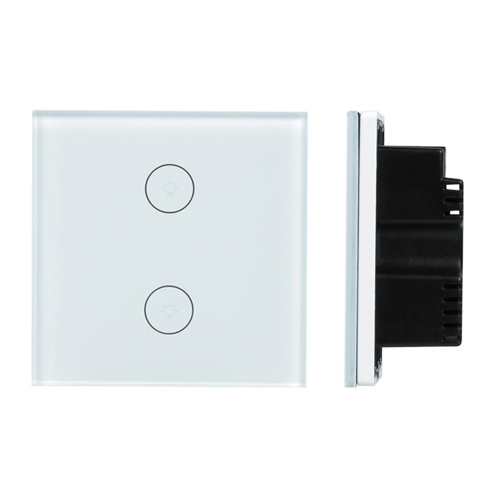 2 Gang Light Wall Switch WiFi Smart Home Switch APP Remote Control Glass Panel Work with Amazon Alexa Smart Scene UK Plug DS25 wireless wifi switch smart home automation module timer diy light wall switch app control work with amazon alexa voice control