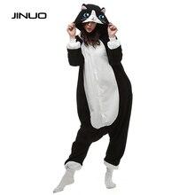 JINUO Взрослых Pijama Черный Кот Женщины Животных Пижамы Косплей Мужская Пижама Пижамы Костюм Sleepsuit Плюс