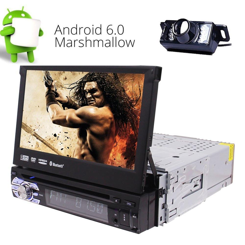 Rear Camera + Android Car Stereo 1Din GPS CD DVD Player Built-in WIFI Support 3G 4G/Bluetooth/Radio RDS/USB/SD/AV OUT /DAB+/OBD2 android 8 0 dab autoradio sat navi wifi 3g rds sd dvr obd bluetooth dtv in car gps navigation player for ford transit focus