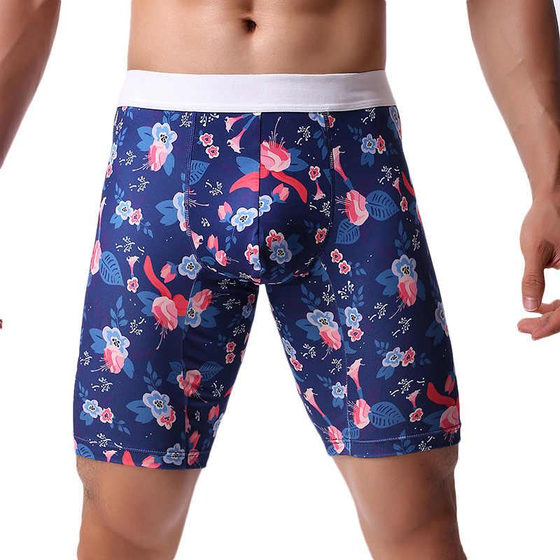 Erkek iç çamaşırı boksörler rahat uzun boksörler erkek iç çamaşırı baskı şort külot Boxer erkekler Calzoncillos Hombre Boxershort