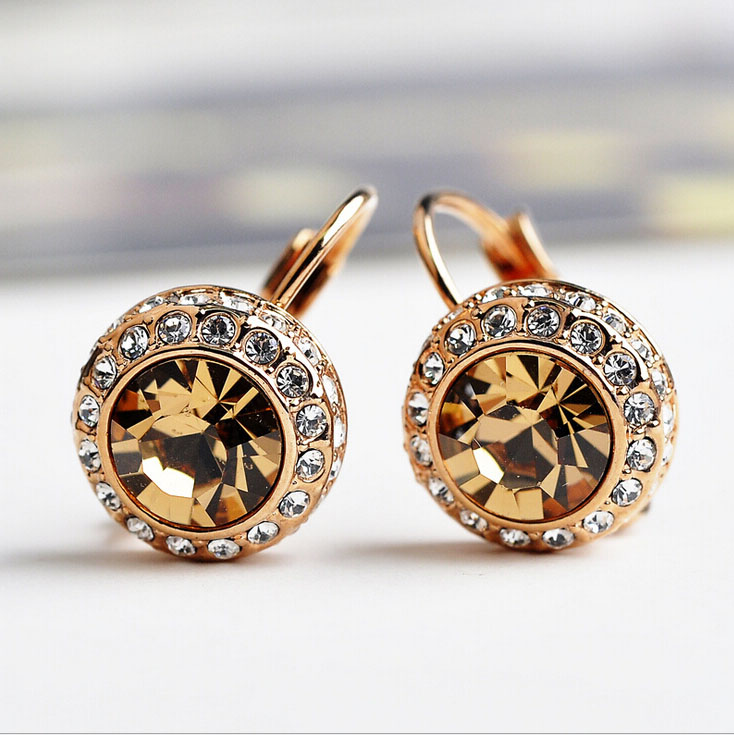 Italina Brand With Stellux Austrian Moon River Crystal Stud Earrings For Women Fashion Jewelry ...