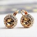 Italina marca el oro stellux austriaco moon river pendientes cristalinos del perno prisionero para las mujeres de joyería de moda