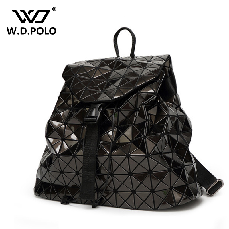 WDPOLO Women s PVC Leather high chic brand design backpack easy matching lady hand bags bling