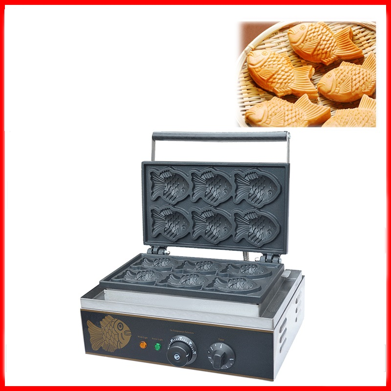 110/220V 6pcs Commercial Electric Fish Waffle Machine Non-stick Taiyaki Fish Waffle Iron Baker Waffle Maker EU/AU/UK/US Plug hot sale 6pcs taiyaki commercial use non stick lpg gas fish waffle maker iron machine baker