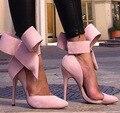 Plus Size Calçados Femininos Big Bowtie Bombas Dos Saltos Altos Borboleta Apontou Sapatos Stiletto Sapatos de Casamento Mulher Zapatos Mujer