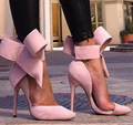 Plus Size Women Shoes Grande Bowtie Bombas de Los Altos Talones de La Mariposa Zapatos Del Estilete Puntiagudo Mujer Zapatos de Boda Zapatos de Mujer