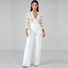 spring new womens jumpsuit fashion solid color casual long sleeve hollow sexy