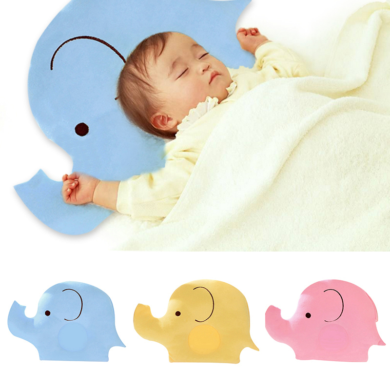 Cartoon Elephant Shape Baby Pillow Soft Cotton Lovely  Pillow Sleep Head Positioner Anti-rollover Skin Friendly Sleep Bedding
