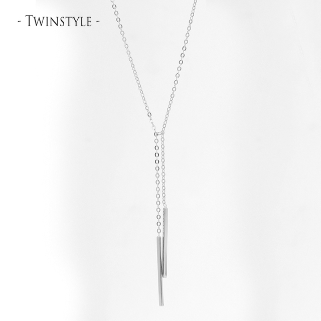 925 Sterling Silver Necklace With Strip Shaped Long Double Chain Pendant Tassel Design Temperament Elegant Necklace For Woman