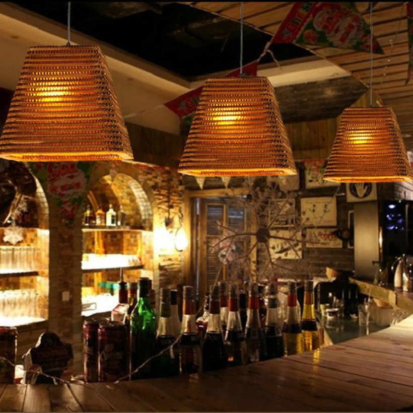 Asia Tenggara Kertas Kilau Lampu Liontin Seni Bambu Lampu Ruang Tamu Cafe Pakaian Luminer Suspendu Lampu Gantung