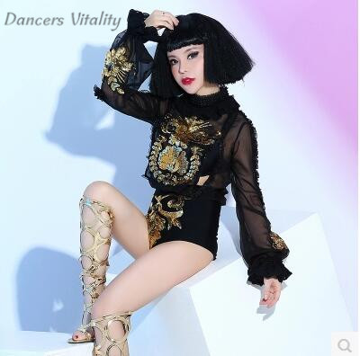 Bodysuit Women Sequin Bodysuit Female Singer Dj Collar Dancers Bar Nightclub Modern Dance Concert Stage Performance Jumpsuit