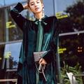 Платья партии мода Velvet dress sexy оборками Зимние платья Vestidos элегантный Халаты с длинными Рукавами марка одежды высокого качества