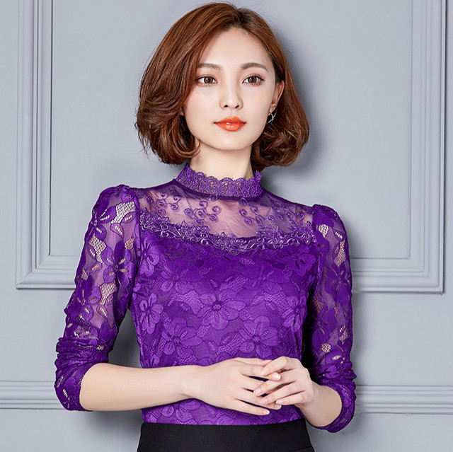 Women Sexy Hollow Out Lace Blouses Feminine Casual Blusas Shirt Long Sleeve Stand Collar Floral Tops Plus Size 5XL 1