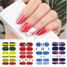 Nail Art Full Cover Self Adhesive Stickers Russia Football Polish Foils Tips Wrap National Flag