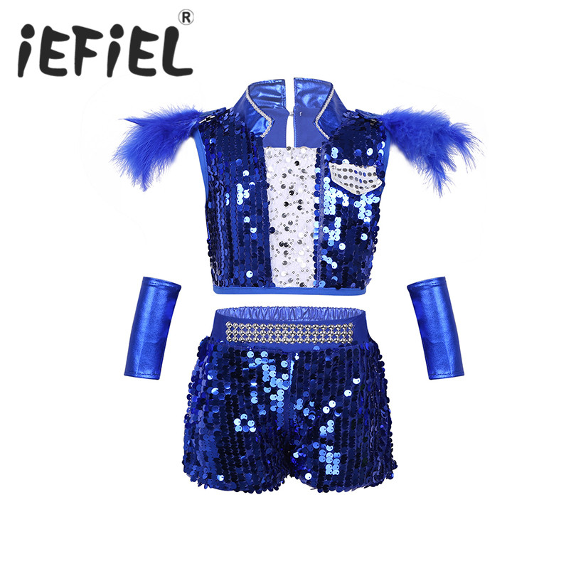 Unisex Kid Boys Girls  Hip-hop Jazz Ballet Dancewear Outfit Shiny Sequins Crop Top with Shorts Wrist-Sleeves Set for Performance