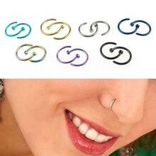 New 2PCS Classic Cute Open Hoop Stainless Steel Nose Ring Earrings Body Piercing for women 5U13 6SGL 7EJ9 85S7