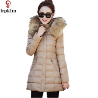2016 Winter New Down Jacket Long Fur Hooded Parka Collar Slim Long Warm Fashion Elegant M