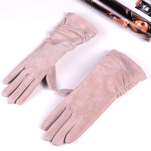 "Image 5 - 28cm 11"" Womens Ladies Genuine leather Suede Leather Middle long Folded gloves Party Evening gloves"