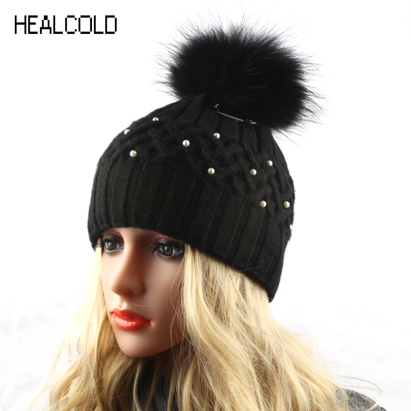 Women Winter Rabbit Fur Hats Ladies Real Fur Pompom Hat Knitted Warm Beanies Cap Skullies velvet thick keep warm winter hat for women rabbit fur knitted beanies ladies female fashion skullies elegant hats for women