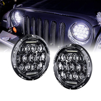 TNOOG 2PCS 7inch LED Headlights 75W H4 Hi/low 4x4 Offroad Led Angle Eye Auto Headlight DRL For Jeep Motorcycle Lada Niva Harley