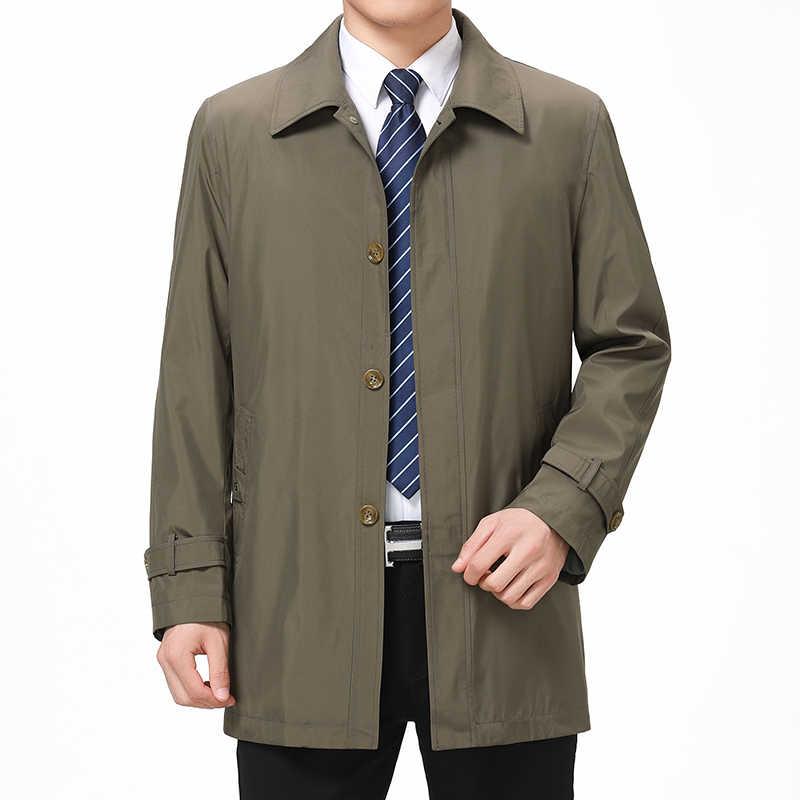 Mu Yuan Yang однобортный мужской Тренч Куртки с отложным воротником повседневные мужские куртки среднего возраста сплошной Тренч на молнии пальто