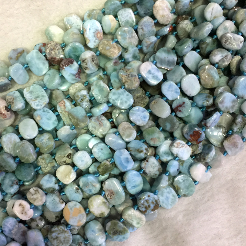 Natural Genuine Raw Mineral Blue Larimar Flat Nugget Smooth Side Drilled Loose Beads Fit Jewelry 05534