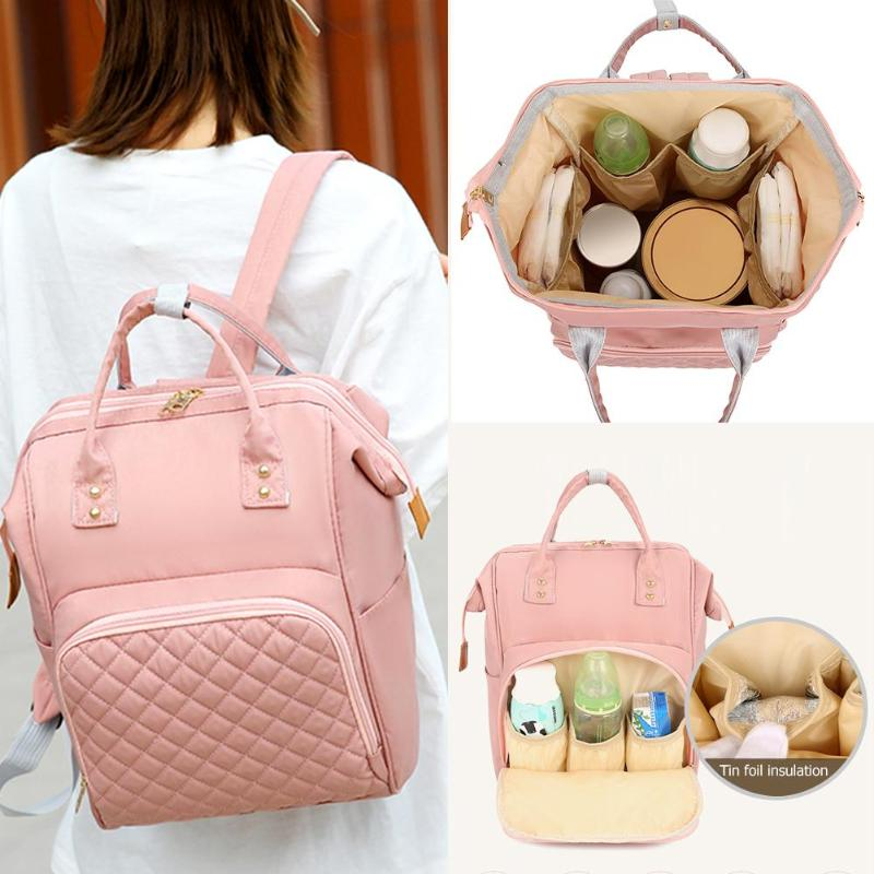 Fashion Solid Color Mommy Backpack Large Capacity Nylon Maternity Organizer Bags Baby Care Nursing Diaper Travel Backpack