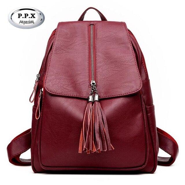 8d6bf20807b9 Women Backpacks High Quality PU Leather Female Bag Fashion Tassel Double  Shoulder Bag Girl schoolbag Women Laptop Rucksack A774