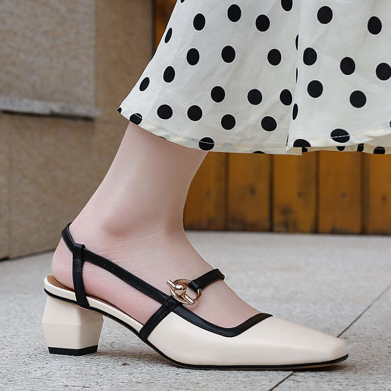 ALLBITEFO genuine leather women sandals high quality middle heel square heels office ladies summer shoes woman sandals