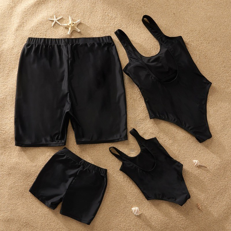 2019 Family Matching Swimwear One Piece Mother Daughter Women Kid Son Girl Queen Swimsuit Bathing Suit Maillot De Bain Feminino-1