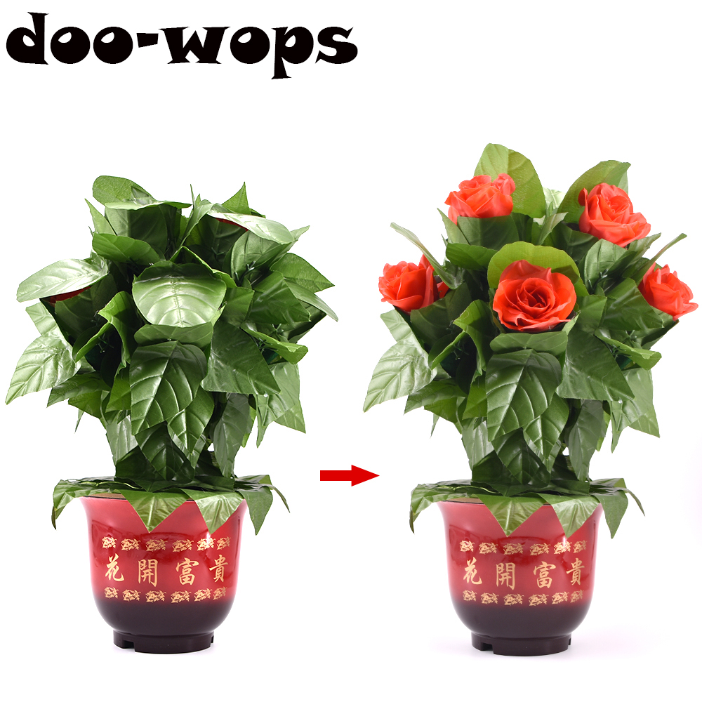 Blooming Rose Bush - Remote Control - 10 Flowers Magic Tricks Flowers Appearing Magia Stage Party Wedding Illusion Props Comedy blooming rose bush remote control 30 flowers magic trick flower magicclose up magic