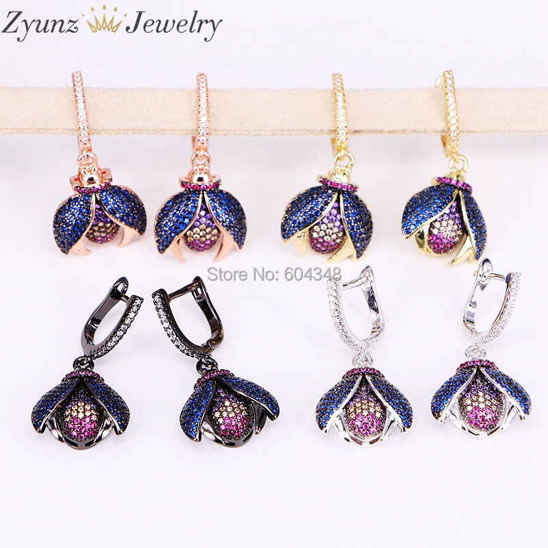 4 Pairs ZYZ191-9418 Fashion Micro pave CZ Bugs insect drop earrings fly insect jewelry Blue wing Bugs drop earrings for women