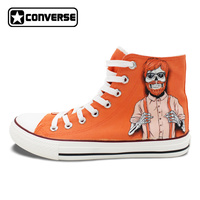 Hand Painted Canvas Shoes Custom Design Red Hair Cool Skull Man High Top Converse Chucks Sneakers for Men Women