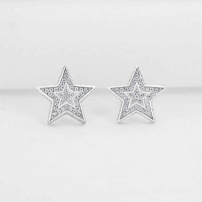 AINUOSHI luxe 925 en argent Sterling boucle d'oreille pour les femmes de mariage Halo étoiles Stud boucle d'oreille bijoux cadeau pendientes plata de ley mujer - 2