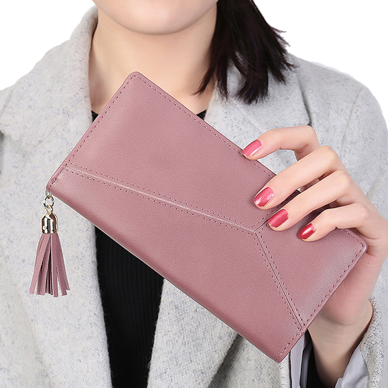 Women Wallet Leather Card Coin Holder Money Clip 2017 Long Clutch Phone Tassel Patchwork Zipper High Quality Cash Female Purse