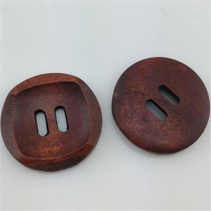 10/30pcs Dark Coffee 2 Holes Round Wood Sewing <font><b>Buttons</b></font> Scrapbooking <font><b>30mm</b></font> WB39 image