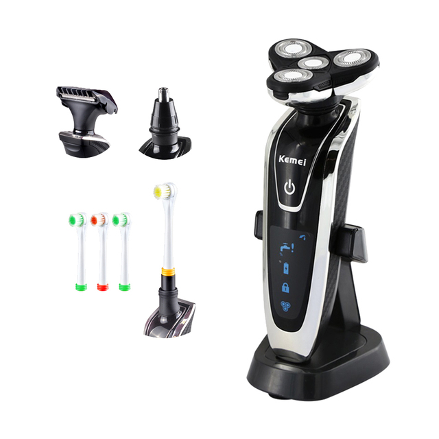 Hot4in1 Rechargeable Floating Razor Electric shaver Triple Blade shaving cutting machine nose ear hair trimmer 4D men Face Care
